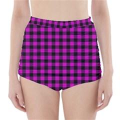 Lumberjack Fabric Pattern Pink Black High Waisted Bikini Bottoms by EDDArt