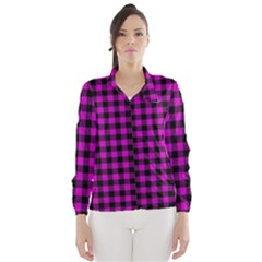 Lumberjack Fabric Pattern Pink Black Wind Breaker (women) by EDDArt