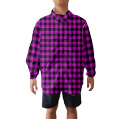 Lumberjack Fabric Pattern Pink Black Wind Breaker (kids) by EDDArt