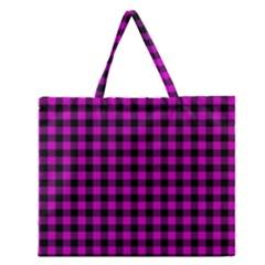 Lumberjack Fabric Pattern Pink Black Zipper Large Tote Bag by EDDArt