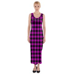 Lumberjack Fabric Pattern Pink Black Fitted Maxi Dress by EDDArt