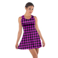 Lumberjack Fabric Pattern Pink Black Cotton Racerback Dress by EDDArt