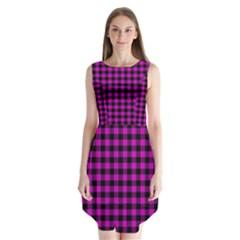 Lumberjack Fabric Pattern Pink Black Sleeveless Chiffon Dress   by EDDArt