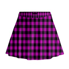 Lumberjack Fabric Pattern Pink Black Mini Flare Skirt by EDDArt