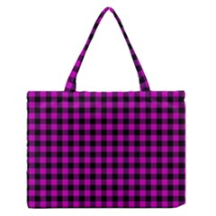 Lumberjack Fabric Pattern Pink Black Medium Zipper Tote Bag