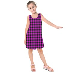 Lumberjack Fabric Pattern Pink Black Kids  Sleeveless Dress by EDDArt