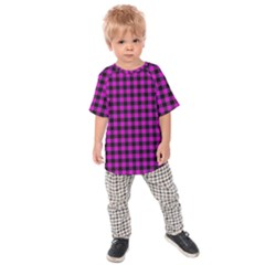 Lumberjack Fabric Pattern Pink Black Kids  Raglan Tee by EDDArt