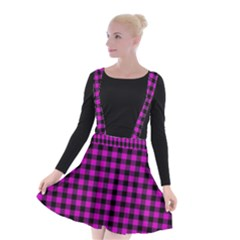 Lumberjack Fabric Pattern Pink Black Suspender Skater Skirt by EDDArt