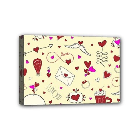 Valentinstag Love Hearts Pattern Red Yellow Mini Canvas 6  X 4  by EDDArt