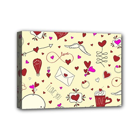 Valentinstag Love Hearts Pattern Red Yellow Mini Canvas 7  X 5  by EDDArt