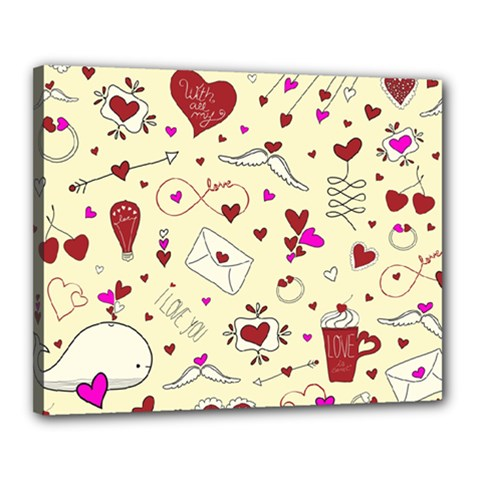 Valentinstag Love Hearts Pattern Red Yellow Canvas 20  X 16  by EDDArt