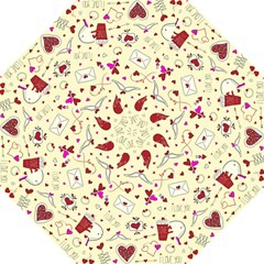 Valentinstag Love Hearts Pattern Red Yellow Folding Umbrellas by EDDArt