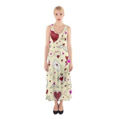 Valentinstag Love Hearts Pattern Red Yellow Sleeveless Maxi Dress by EDDArt
