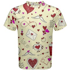 Valentinstag Love Hearts Pattern Red Yellow Men s Cotton Tee by EDDArt