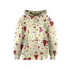 Valentinstag Love Hearts Pattern Red Yellow Kids  Zipper Hoodie by EDDArt