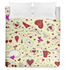Valentinstag Love Hearts Pattern Red Yellow Duvet Cover Double Side (queen Size) by EDDArt