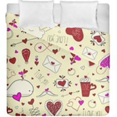 Valentinstag Love Hearts Pattern Red Yellow Duvet Cover Double Side (king Size) by EDDArt
