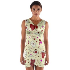 Valentinstag Love Hearts Pattern Red Yellow Wrap Front Bodycon Dress by EDDArt