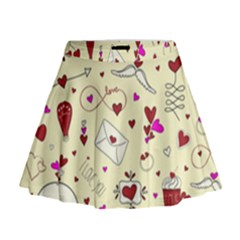 Valentinstag Love Hearts Pattern Red Yellow Mini Flare Skirt by EDDArt