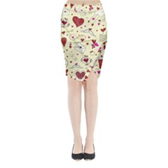 Valentinstag Love Hearts Pattern Red Yellow Midi Wrap Pencil Skirt by EDDArt