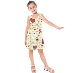 Valentinstag Love Hearts Pattern Red Yellow Kids  Sleeveless Dress by EDDArt