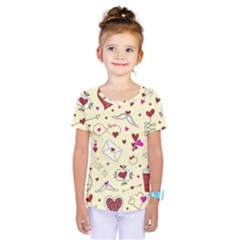 Valentinstag Love Hearts Pattern Red Yellow Kids  One Piece Tee