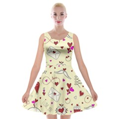 Valentinstag Love Hearts Pattern Red Yellow Velvet Skater Dress by EDDArt