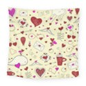 Valentinstag Love Hearts Pattern Red Yellow Square Tapestry (Large) View1