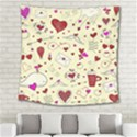 Valentinstag Love Hearts Pattern Red Yellow Square Tapestry (Large) View2