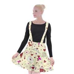 Valentinstag Love Hearts Pattern Red Yellow Suspender Skater Skirt by EDDArt