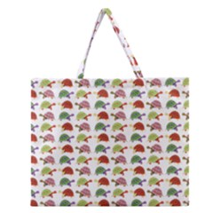 Turtle Pattern Zipper Large Tote Bag by Valentinaart