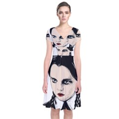 Wednesday Addams Short Sleeve Front Wrap Dress by Valentinaart