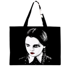 Wednesday Addams Zipper Large Tote Bag by Valentinaart