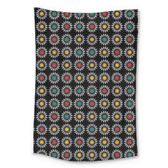 White Daisies Pattern Large Tapestry by linceazul