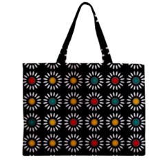 White Daisies Pattern Zipper Mini Tote Bag by linceazul