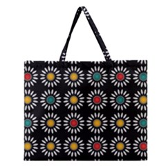 White Daisies Pattern Zipper Large Tote Bag by linceazul