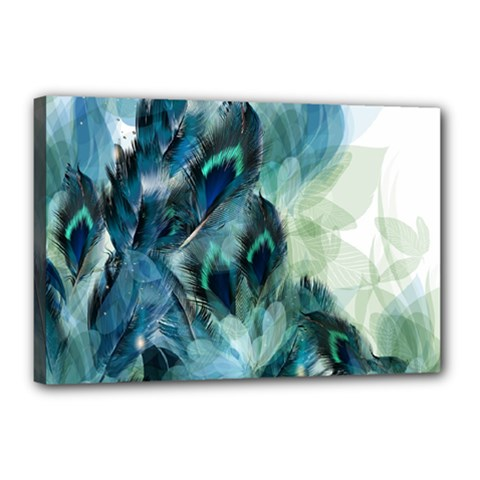 Flowers And Feathers Background Design Canvas 18  X 12  by TastefulDesigns