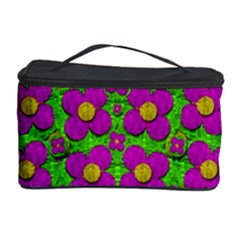 Bohemian Big Flower Of The Power In Rainbows Cosmetic Storage Case by pepitasart