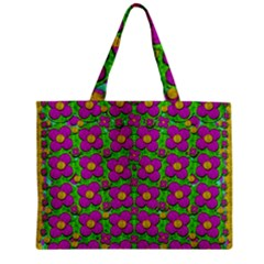 Bohemian Big Flower Of The Power In Rainbows Zipper Mini Tote Bag by pepitasart