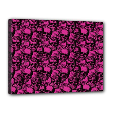 Skulls Pattern  Canvas 16  X 12  by Valentinaart