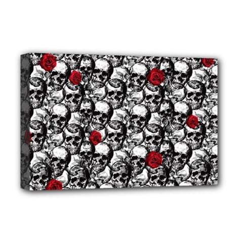 Skulls And Roses Pattern  Deluxe Canvas 18  X 12   by Valentinaart