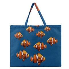 Clown Fish Zipper Large Tote Bag by Valentinaart