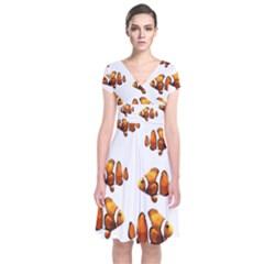 Clown Fish Short Sleeve Front Wrap Dress by Valentinaart