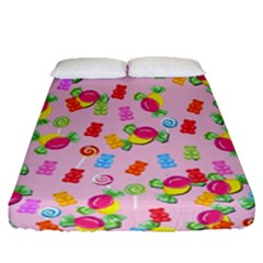 Candy Pattern Fitted Sheet (queen Size) by Valentinaart