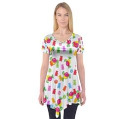 Candy Pattern Short Sleeve Tunic