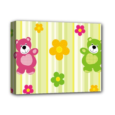 Animals Bear Flower Floral Line Red Green Pink Yellow Sunflower Star Deluxe Canvas 14  X 11  by Mariart