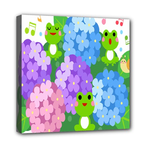 Animals Frog Face Mask Green Flower Floral Star Leaf Music Mini Canvas 8  X 8  by Mariart