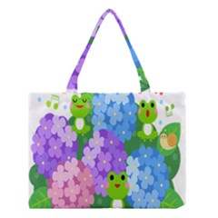 Animals Frog Face Mask Green Flower Floral Star Leaf Music Medium Tote Bag by Mariart