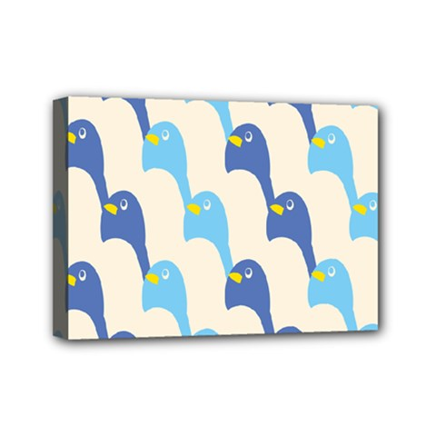 Animals Penguin Ice Blue White Cool Bird Mini Canvas 7  X 5  by Mariart