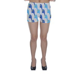 Animals Penguin Ice Blue White Cool Bird Skinny Shorts by Mariart